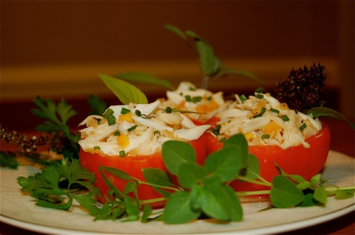 Crab Salad Stuffed Tomato
