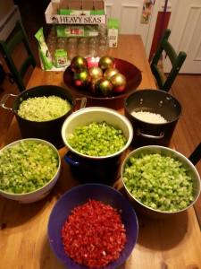 Chopped veggies for green tomato chow chow.