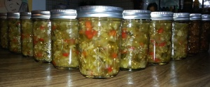 48 jars of GrowDammit green tomato chow chow